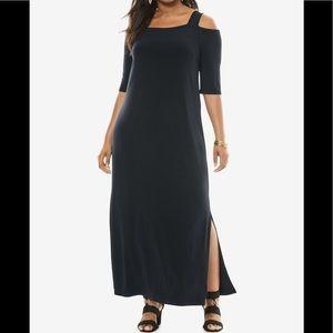 Roaman's NWOT Cold-Shoulder Maxi Dress, L 18/20